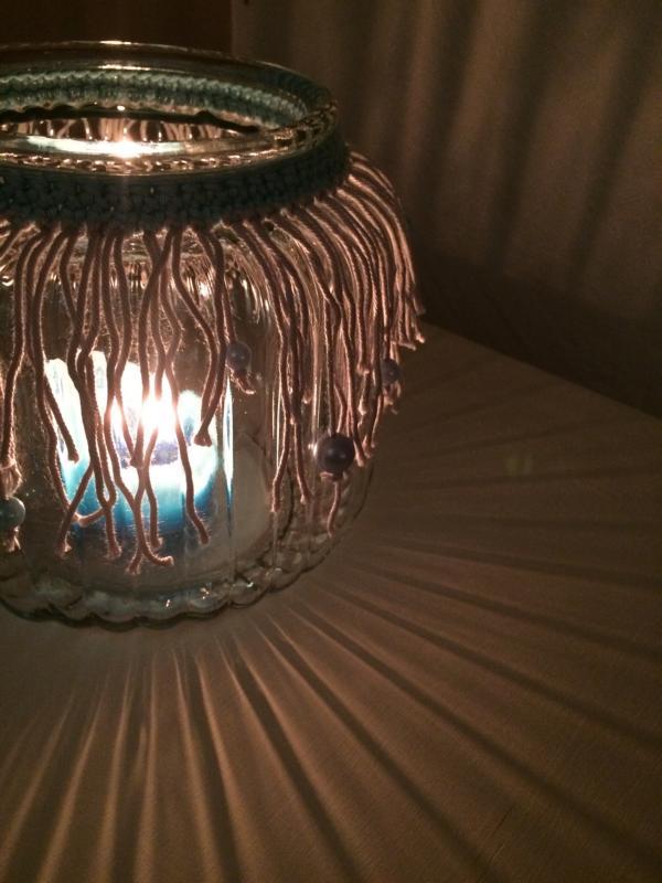 diy cooler fransenlook f r vase h kelfieber. Black Bedroom Furniture Sets. Home Design Ideas