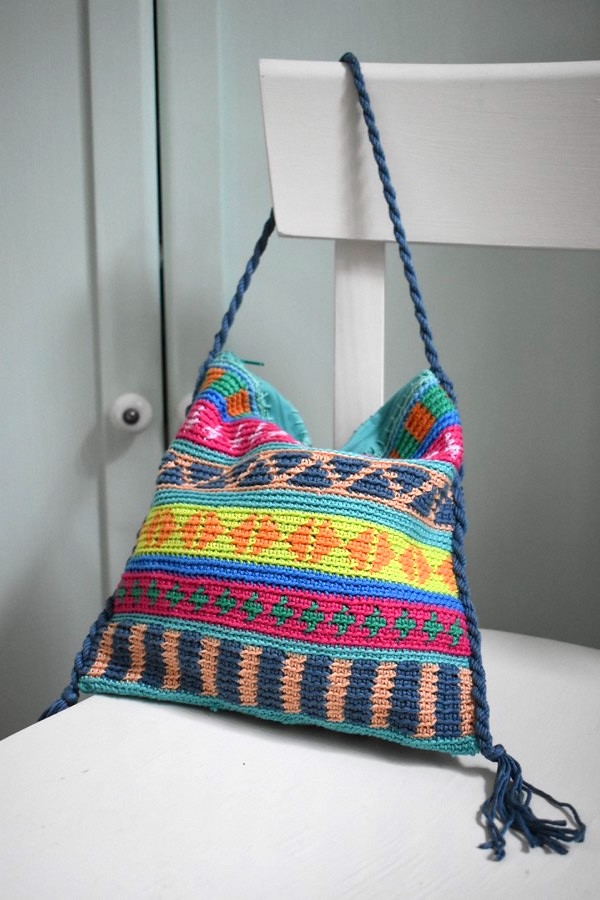 Tasche Boho Tapestry Haekeln Crochet 4 Häkelfieber