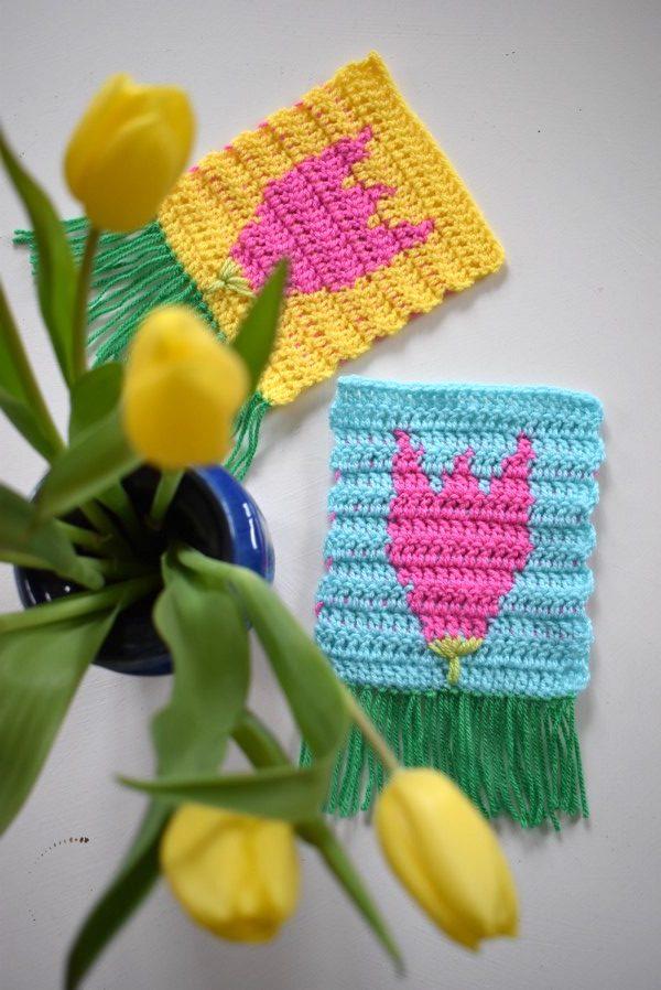 Tulpe Fruehling Haekeln Tapestry 10 Häkelfieber